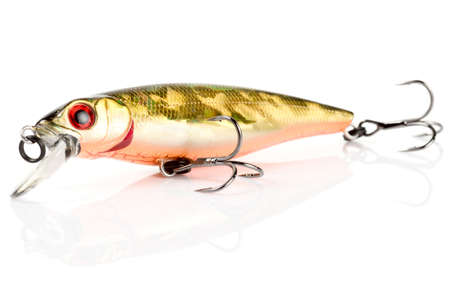 Plastic fishing lure (wobbler) isolated on white with soft shadow photo