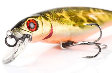 Fragment of plastic fishing lure, macro shot photo