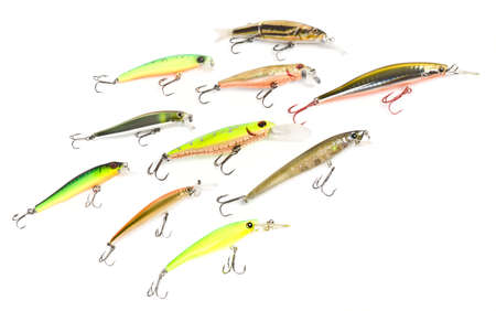 Set of plastic fishing baits forming a pack photo