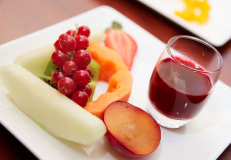 Fresh and tasty fruits or banquet table, selective focus photo