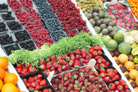Various fresh berries on food market stall Stock Photo - 6910446