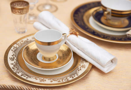 Set of fine bone porcelain dishware photo
