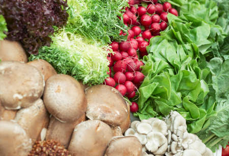 Vegetables and various mushrooms in a supermarket, focus on radish photo