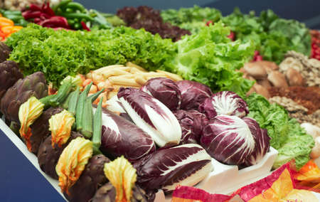 Vegetables and groceries in supermarket, focus is on cabbages Stock Photo - 6910450