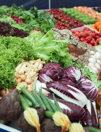 mixed vegetables: Vegetables and groceries in supermarket, focus is on lettuce Stock Photo