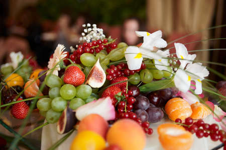 buffet lunch: Fruits on banquet table shot during catering event