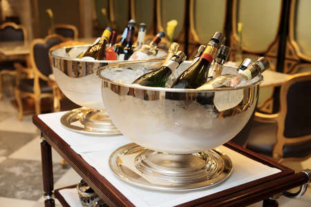 Bowls with iced champagne in a restaurant photo