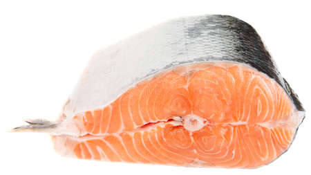 Piece of fresh salmon isolated on white bacground Stock Photo - 7880105