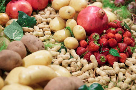 Vegetables and fruits on supermarket display Stock Photo - 8003489