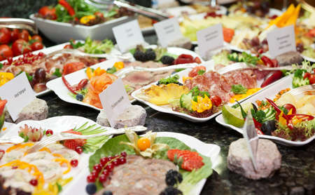 food buffet: Meat, fish and another products in expensive hotel restaurant