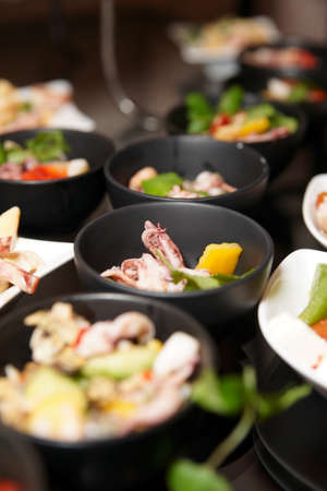lunch buffet: Snacks on banquet table, selective focus