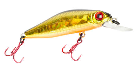 Plastic fishing lure (wobbler) isolated on white without shadows photo