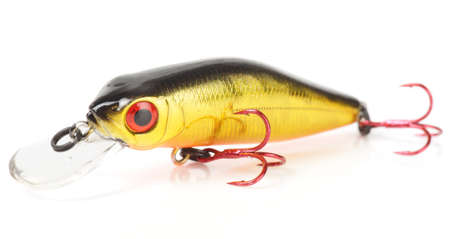 Plastic fishing lure (wobbler) isolated on white with soft shadow and reflection photo