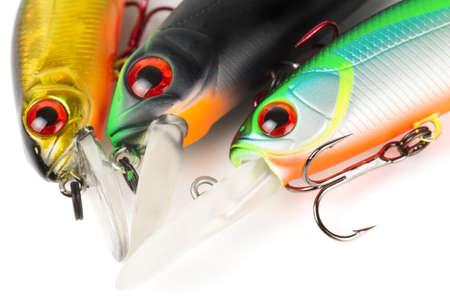 Plastic fishing lures macro shot photo