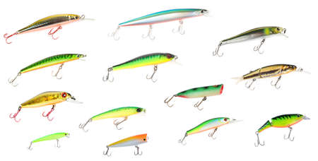 Set of plastic fishing lures isolated on white wit and without shadows. Please look for fullsize images in my portfolio! photo