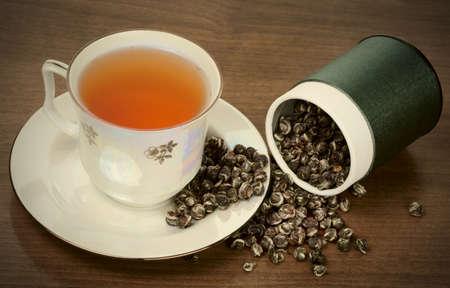 oolong: Elite oolong tea in porcelain cup