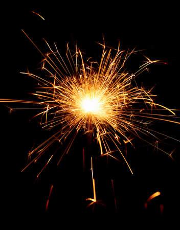kıvılcım: Sparkler on black background, close-up Stok Fotoğraf