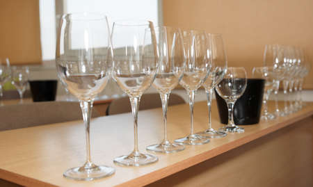 oenology: Professional oenology school - classroom with wineglasses Stock Photo