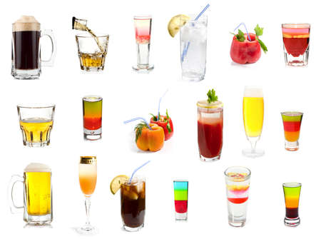 Set of 18 cocktails and alcoholic drinks isolated on white background photo