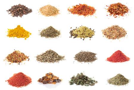 crushing: Set of spices heaps isolated on white background