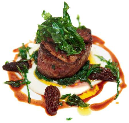 Tenderloin steak isolated on white background photo
