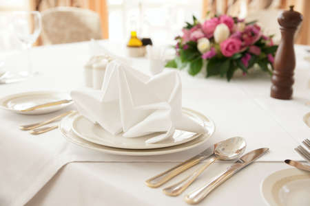 Table arrangement in an expensive haute cuisine restaurant Stock Photo - 9305633