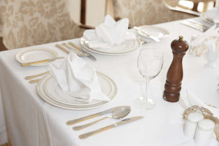 haute: Place setting in an expensive haute cuisine restaurant Stock Photo