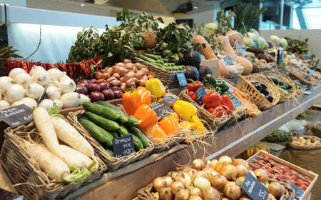 large store: Fresh vegetables and groceries in a supermarket