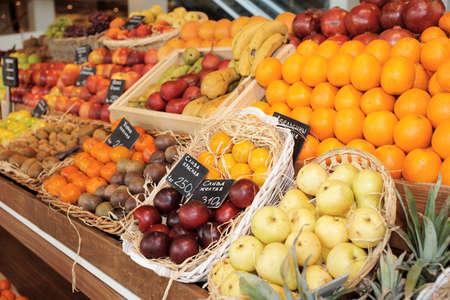 Shelf with fruits on a farm market Stock Photo - 9305749