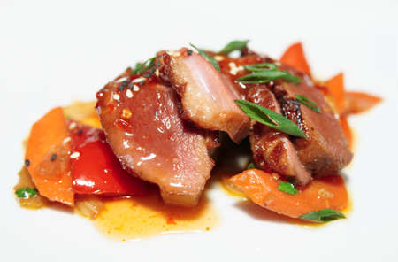 Duck breast with savory sauce, asian style dish photo