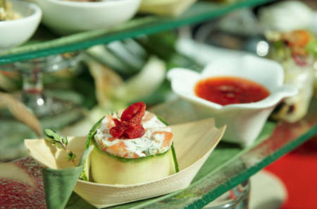 Tasty appetizers on banquet table, shallow focus  photo