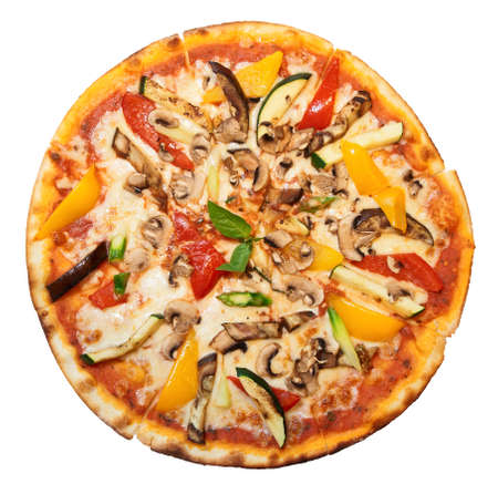 Tasty vegetable pizza, isolated, clipping path included
