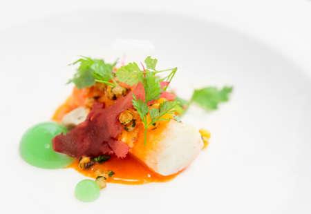 cangrejo: Cangrejo de Chili cocinado de manera moderna en placa, primer plano