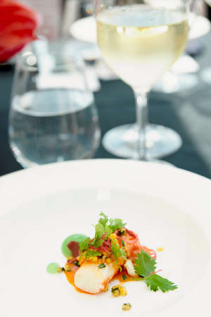 Chili crab cooked in a modern way on restaurant table outdoors photo