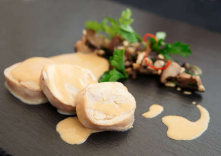 haute: Chicken fillet cooked in asian way with shiitake black mushrooms