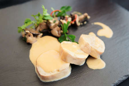 shiitake: Chicken fillet cooked in asian way Stock Photo