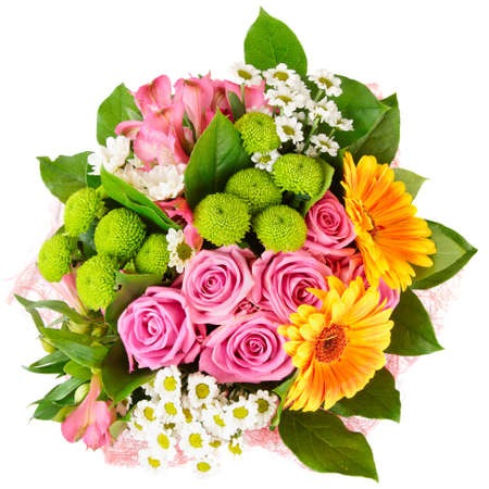 bunch: Bright bouquet shot from above, isolated on white