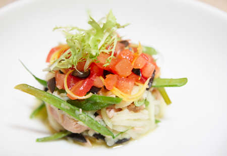 Tuna dish with tomato tartare and lettuce on porcelain plate