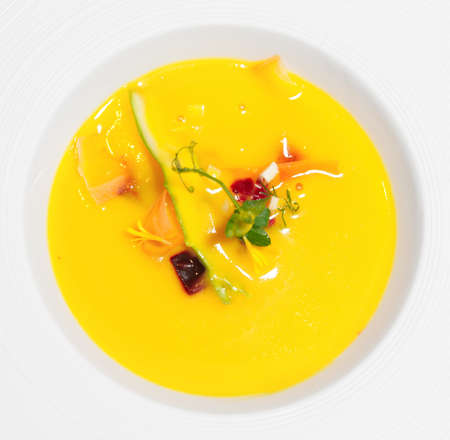 gaspacho: Gaspacho (cold summer soup) with fresh vegetables in porcelain plate