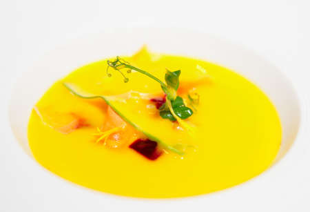 gaspacho: Gaspacho (cold summer soup) in porcelain plate, close-up shot Stock Photo