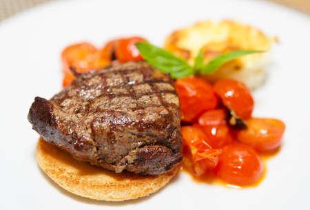 plates of food: Tasty steak