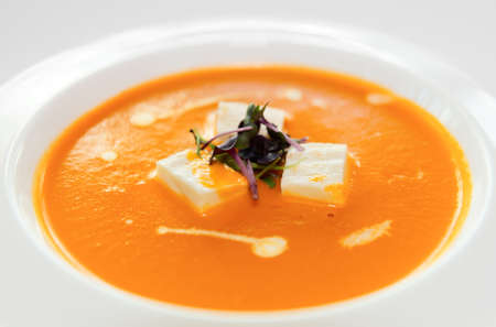 gaspacho: Gaspacho (cold summer soup) in porcelain plate, close-up shot