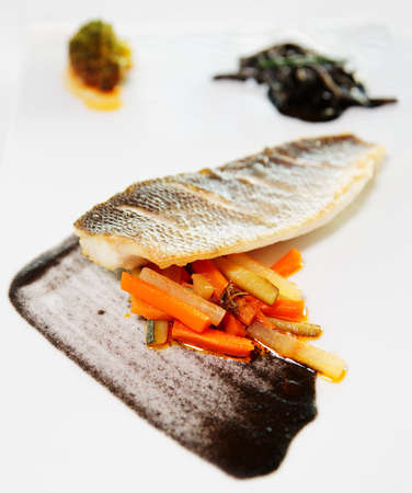 sea bass: Seabass cooked in a modern way