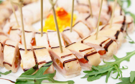 Appetizer on banquet table, close-up photo