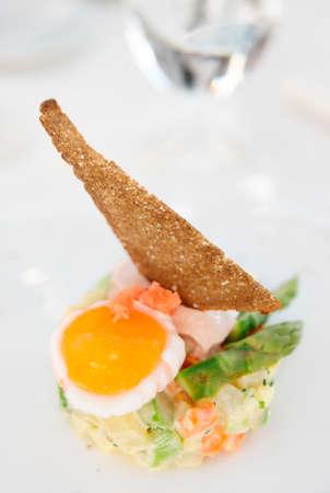 haute: Haute cuisine appetizer on restaurant table