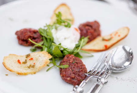 Beef tartare with arugula and crunchy bread photo