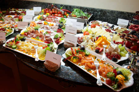 food buffet: Hotel breakfast board in a 5-star hotel