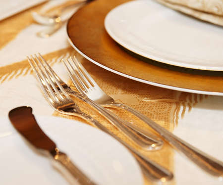 Place setting in a restaurant, close-up shot photo