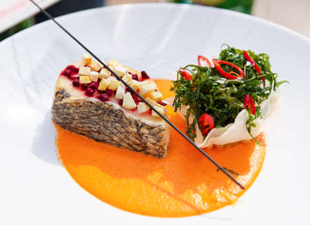 Seabass haute cuisine dish with herbs and vegetable puree photo