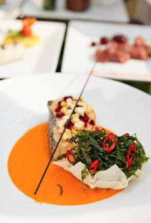 Mořský vlk haute kuchyně parabolu s bylinkami a zeleninovým pyré Reklamní fotografie